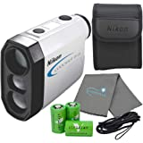 Nikon Coolshot Golf Laser Rangefinder Bundle with 3 CR2 Batteries and a Lumintrail Cleaning Cloth