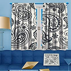 "VROSELV Blackout Burgundy Curtains background from a paisley ornament fashionable wallpaper or textile for Bedroom/Living Room 80% Privacy Panel Drapes 55"" W x 72"" L"