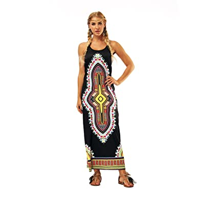 0e34ed73df8 AMOMA Women s Folk Style Maxi Dress Spaghetti Strap Sleeveless Casual  Sundress Vintage Retro Beachwear(XL