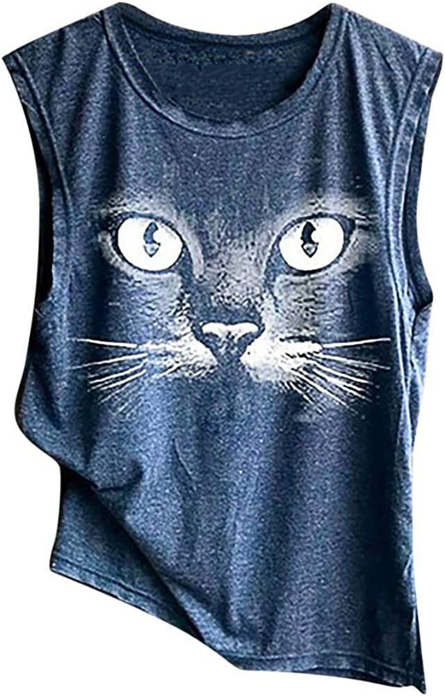 Mujeres Camiseta básica Estampada de Gato, Blusa Tirantes Camisa ...