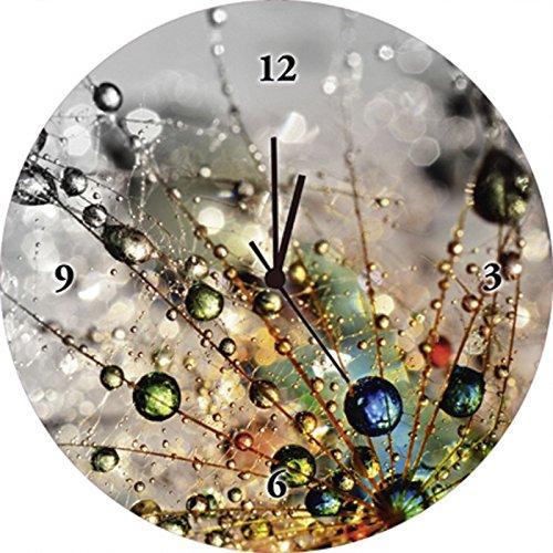 Artland Qualitätsuhren I Funk Wanduhr Designer Uhr Glas Funkuhr Größe: 35 Ø Blumen Pusteblume Bunt F1YG