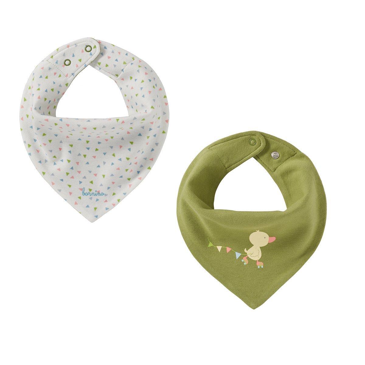Bornino Baby Wende-Dreieckstuch Confetti Animals/Halstuch / dunkelgrün/offwhite gemustert