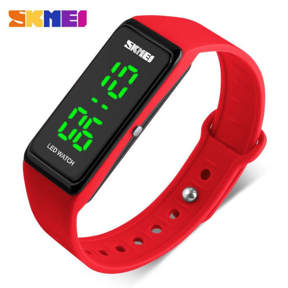 SKMEI LED Sport Digital Wrist Watch 50M Waterproof for Kids Boys Girls Men Women Silicone Bracelet Watch (Red)