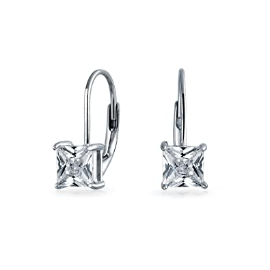 15a6e7e50 Image Unavailable. Image not available for. Color: 1CT Brilliant Princess  Cut Solitaire Square Cubic Zirconia CZ Leverback Drop Earrings For Women 925  ...