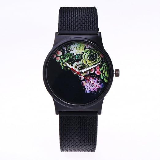 Yivise Mujeres Elegante Reloj Floral Print Dial Novedad Diseño Banda de Silicona Analógico Cuarzo Creativo Hermoso Reloj de Pulsera(E): Amazon.es: Relojes
