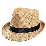Toponly Women Straw Panama Hat Fedora Beach Sun Hat Wide Brim Straw Roll up Hat UPF 50+ Khaki