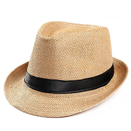 (Kinglly Straw Hat Band Sunhat Unisex Trilby Gangster Cap Beach Sun Straw Hat Band Sunhat Khaki)