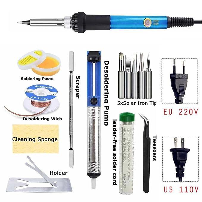 Electric Soldering Iron Welding Tool Kit Solder Wire Tweezers Set W// Power Cord
