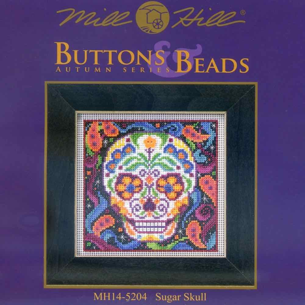 Sugar Skull Halloween Beaded Counted Cross Stitch Kit Mill Hill 2015 Buttons /& Beads Autumn MH145204