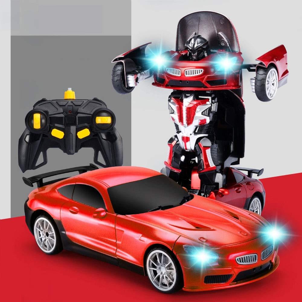 GLBS Fernbedienung Auto Spielzeug Rc Auto Wiederaufladbare Vier Rad Stunt Auto 3D Verformung Racing Fahrzeug Safe & Durable 2,4 GHz High Speed Rennwagen Funksteuerung Spielzeug Für Kinder A3-rot 1 battery