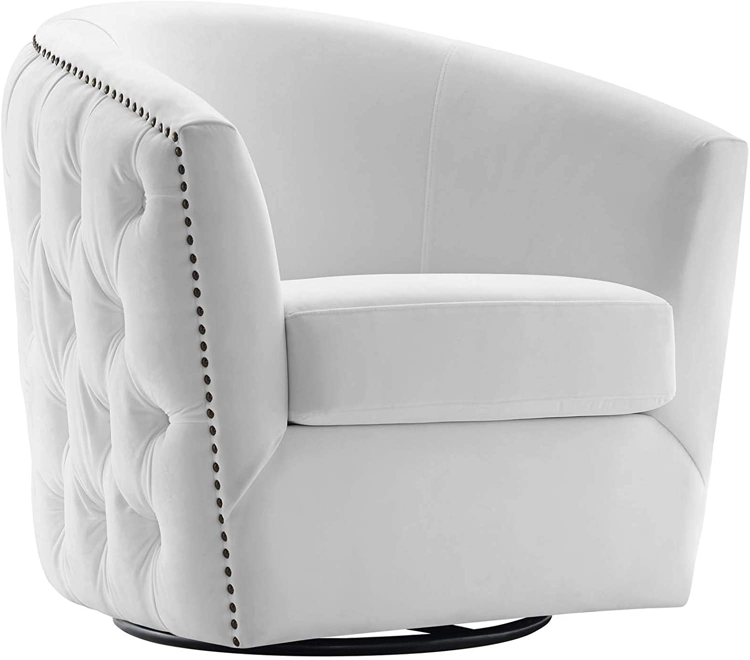 "Modway EEI-3434-WHI Rogue Performance Velvet Barrel Back Accent Lounge Swivel Chair in White 29""L x 32""H"