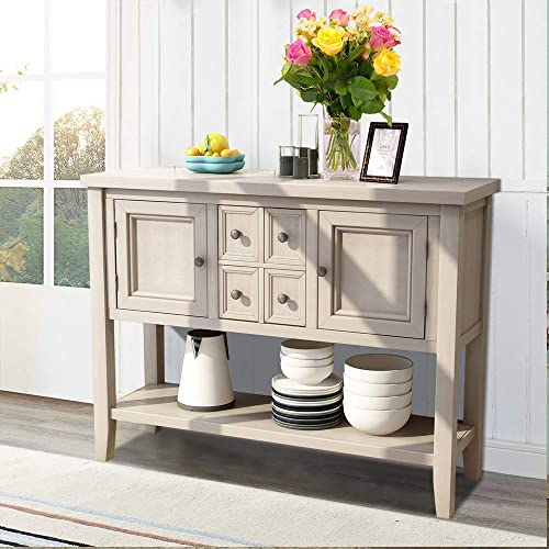 Romatlink Solid Wood Retro Style Sideboard Buffet Table with Locker and Kitchen Table, Rustic Console Table, Entrance Table, for Hallway Foyer Living Room Interior Furniture