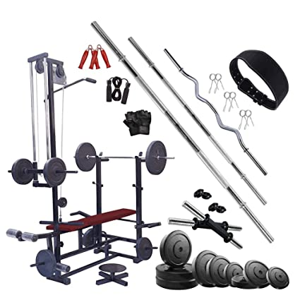 HASHTAG FITNESS 20in1 Bench Home Gyms & Gym equipments for Home with 50kg  Rubber Gym Set, Black and Silver : Amazon.in: Sports, Fitness & Outdoors