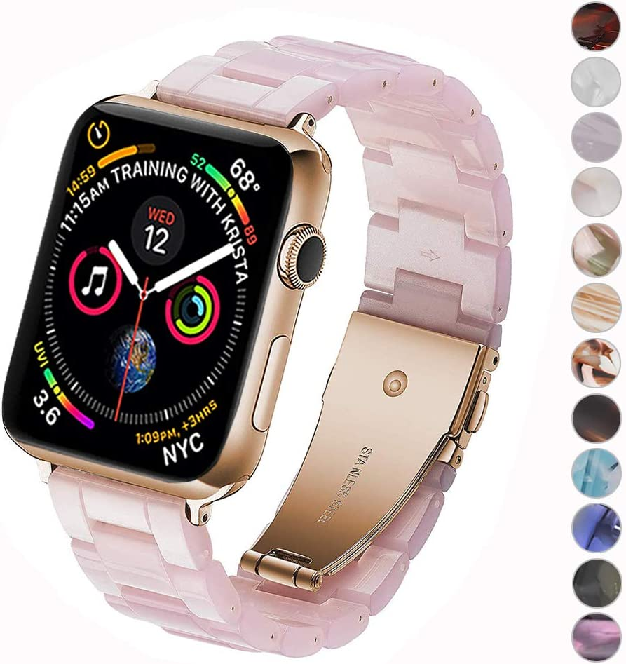 Miimall Compatible Apple Watch 38mm 40mm Resin Band Women Men Bracelet Stainless Steel Buckle Band Strap for Apple Watch SE Series 6 Series 5 Series 4 Series 3 Series 2 Series 1 38mm 40mm(Pink)