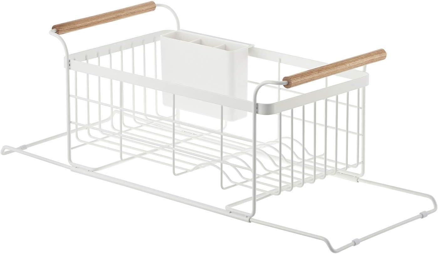 YAMAZAKI home 3108 Sink Dish Drainer Rack-Expandable Kitchen Drying Organizer Holder, One Size, White
