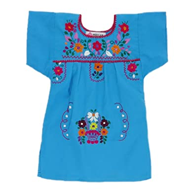 b38497eb008 Mexican Clothing Co Baby Girls Mexican Dress Traditional Tehuacan Poplin CT  3M Blue 9332