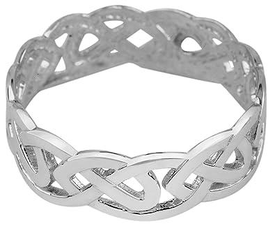 Fine 10k White Gold Celtic Wedding Band Trinity Knot Eternity Ring 4
