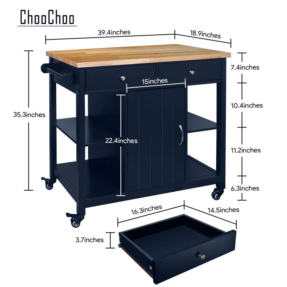 ChooChoo Kitchen Islands Cart on Wheels with Natural Rubber Wood Top, Utility Wood Kitchen Cart with Storage and Drawers, Easy Assembly - Navy Blue by ChooChoo (Image #3)
