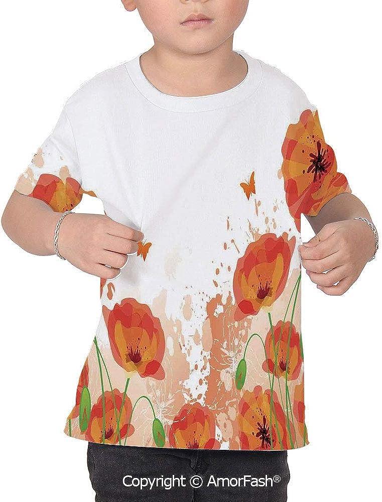 PUTIEN Poppy All Over Print T-Shirt,95/% Polyester,Childrens Short Sleeve T-ShirtDigita
