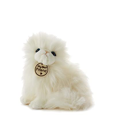 Hallmark My Best Friend Small White Long-Haired Cat Plush Stuffed Animal: Toys & Games