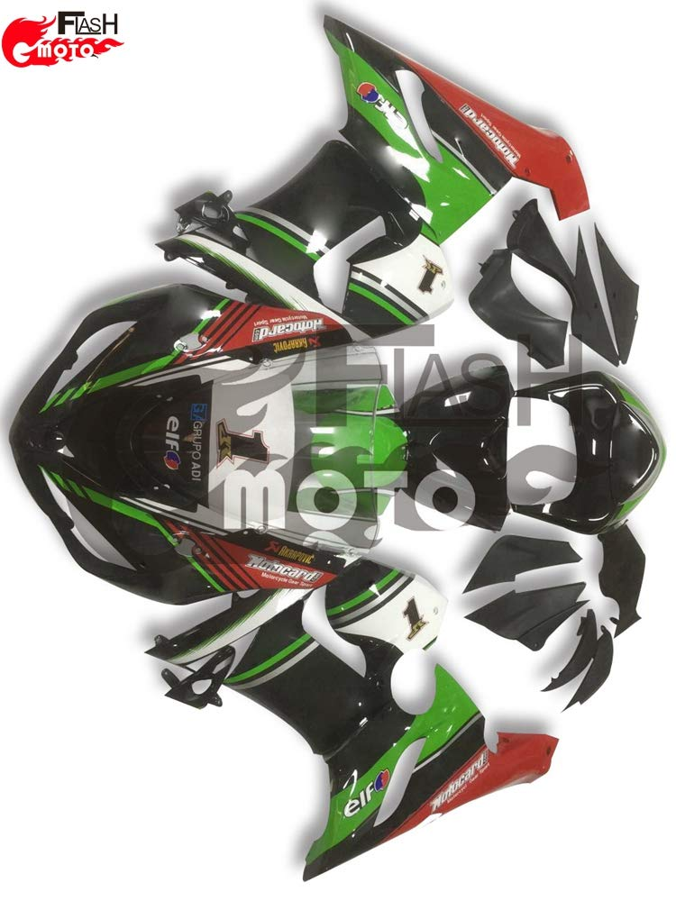 FlashMoto kawasaki 川崎 カワサキ ZX6R ZX-6R Ninja 636 2005 2006用フェアリング 塗装済 オートバイ用射出成型ABS樹脂ボディワークのフェアリングキットセット (グリーン,ブラック)   B07L8BBRX2
