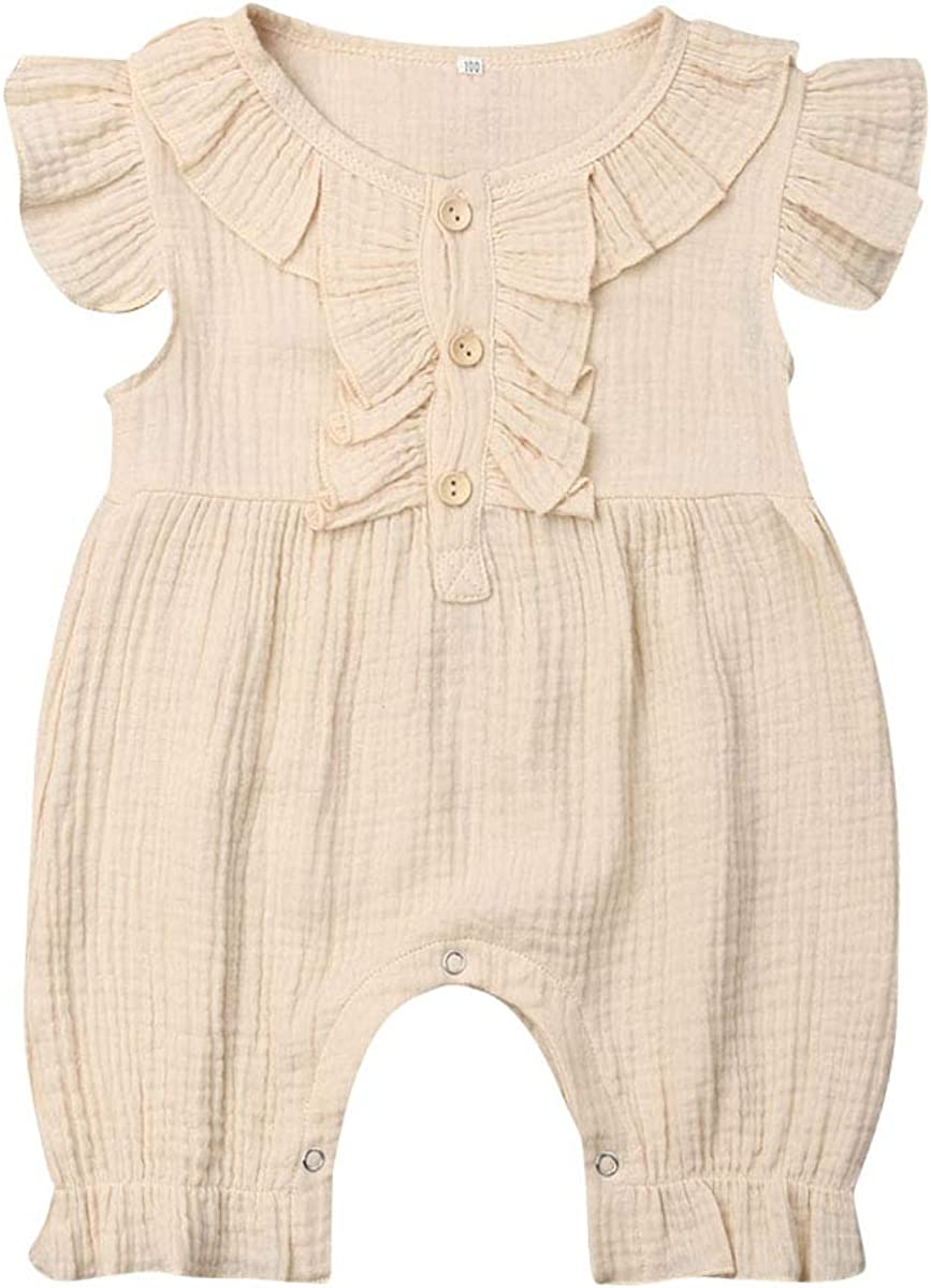 Toddler Newborn Baby Boy Girl Summer Rompers Unisex Fly Sleeve Solid Colour Button Jumpsuit Cotton Outfits Playsuits 0-24 Months