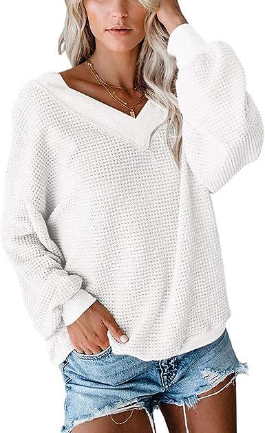 Mujer Suéter Punto Color Sólido Jersey Cuello en V Camiseta ...