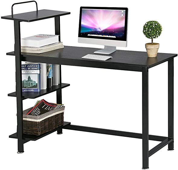 Yaheetech Home Computer Desk with 4 Tiers Shelves, Wooden Writing Desk PC Laptop Table Workstation with Bookshelves for Office, Black
