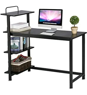 Yaheetech Writing Desk with 4 Bookshelves for Home Office, Computer PC Laptop Workstation Study Table