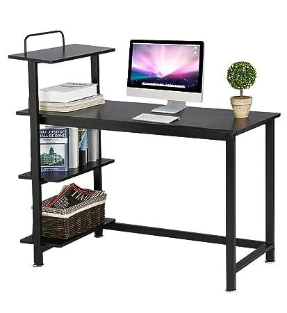 Fine Topeakmart Computer Desk Compact Desk With 4 Shelves Home Office Study Table Black Interior Design Ideas Skatsoteloinfo
