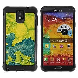 "Pulsar iFace Series Tpu silicona Carcasa Funda Case para SAMSUNG Galaxy Note 3 III / N9000 / N9005 , Azul Mapa Pintura rústica Chipped Leaf"""