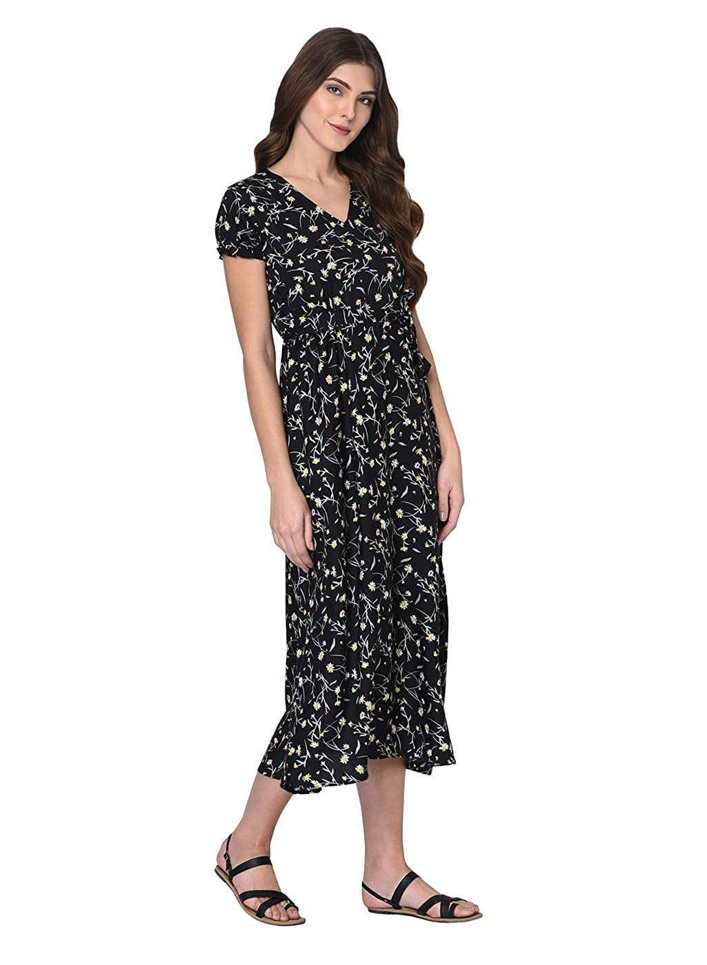 dfe49cfec2 Rigo Ditsy Floral Print Maxi Dress for Women  Amazon.in  Clothing    Accessories