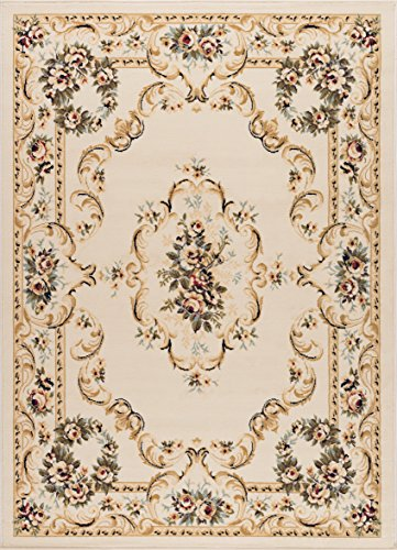 (Angeline Traditional Floral Beige Rectangle Area Rug, 5' x 7' )