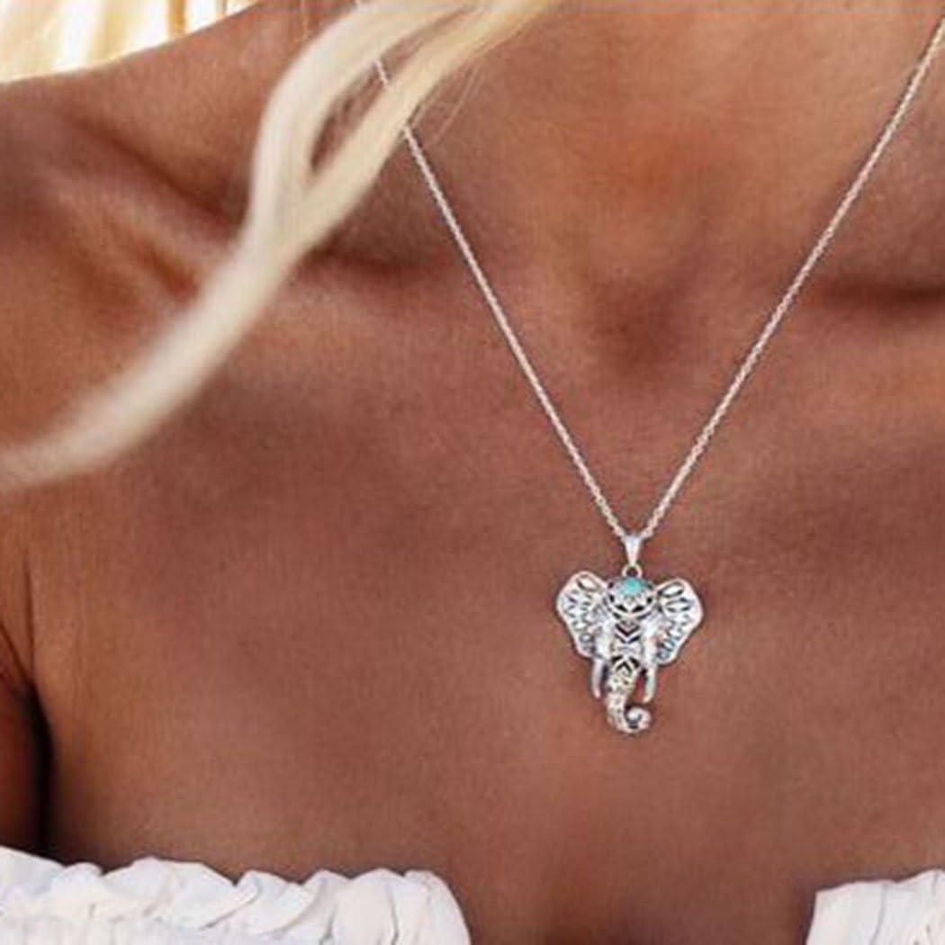 Collar con colgante de cadena con accesorios de elefante para mujeres y niñas (plata)