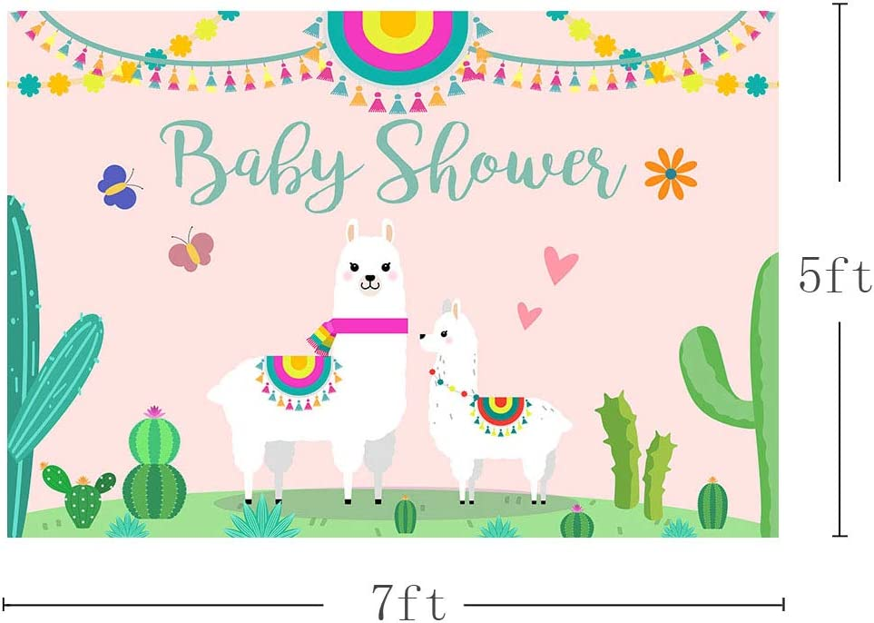 7x10 FT Llama Vinyl Photography Backdrop,Cute Llama with Candy Cane Hearts Fun Pattern on Mint Green Background Background for Party Home Decor Outdoorsy Theme Shoot Props