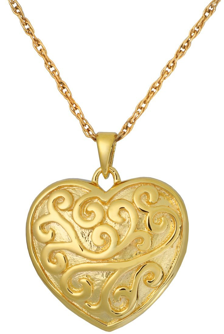 Memorial Gallery MG-3316gp Scrollwork Filigree Heart 14K Gold/Silver Plating Cremation Pet Jewelry
