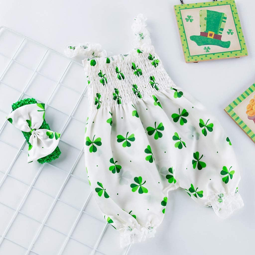 Patricks Day Clothes Jumpsuits Onesies 6-18 Months Sleeveless Straps Rompers Infant Toddler Girls Boys St