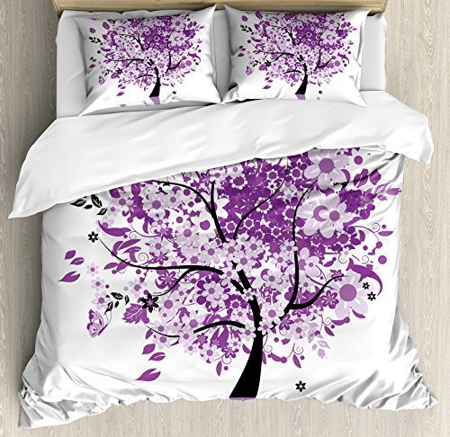 Ambesonne Nature Duvet Cover Set King Size, Spring Tree of Life Sacred Woods with Blooming Flower and Butterfly Flying Romance, Decorative 3 Piece Bedding Set with 2 Pillow Shams, Lilac Purple by Ambesonne