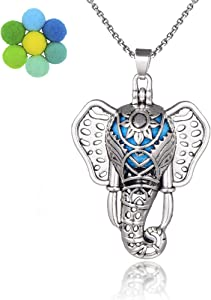 Boho Style Antique Silver Plating Elephant Lava Bead Locket Pendant Essential Oil Scent Diffuser Necklace Aromatherapy Jewelry for Women/Man