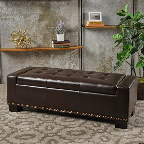 Accent Brown Ottoman (Christopher Knight Home Jaxson Brown Leather Storage Ottoman w/Nailhead Accent)