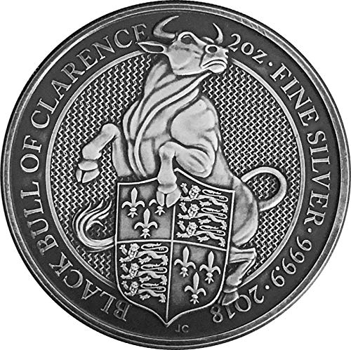 (2018 GB Queen Beasts Finish PowerCoin BLACK BULL Queen Beasts Antique Finish 2 Oz Silver Coin 5£ United Kingdom 2018 Antique Finish)
