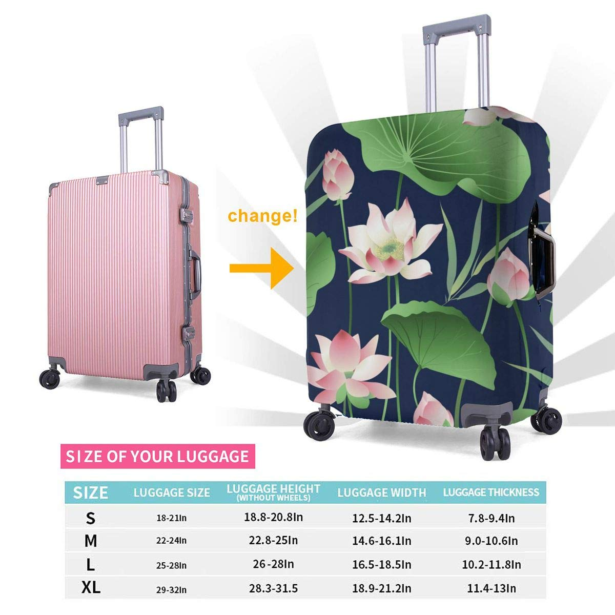 Lotus Flowers And Leaves Travel Luggage Cover Suitcase Protector Washable Zipper Baggage Cover