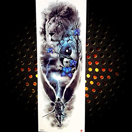 Tatuaje de brazo completo hombre mujer pegatina negro largo tótem ...