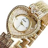 YISUYA Women's Heart Shape Bling Rhinestone Quartz Analog Wrist Watch Golden Crystal Bracelet Watches with Gift Box
