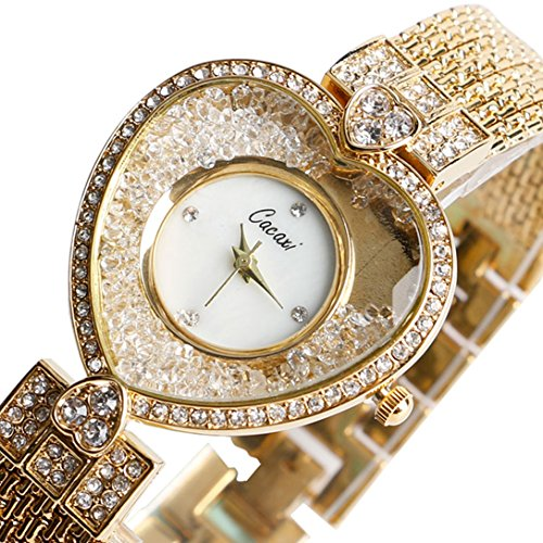 YISUYA Women's Heart Shape Bling Rhinestone Quartz Analog Wrist Watch Golden Crystal Bracelet Watches with Gift Box (Box Shape)