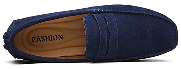 Amazon.com   Go Tour Mens Loafers Penny Moccasins Driving Drivers Casual Dress Suede Leather Slip On Flats Boat Shoes   Loafers & Slip-Ons