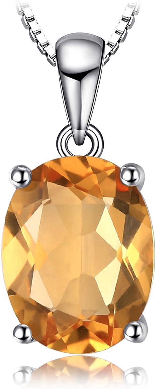 JewelryPalace Colgante Oval Redondo Triángulo Pera Forma Natural Amatista Citrine Granate Peridoto Topacio Azul Piedra Preciosa Birthstone Collar Plata de ley 925 Cadena 45CM