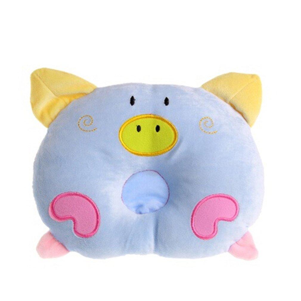VWH Bébé Oreiller Tête Forme Correcte infantile Bébé Dormir Coussin Pour Anti Roulis Tête Plate Cochon Bleu Yingwei