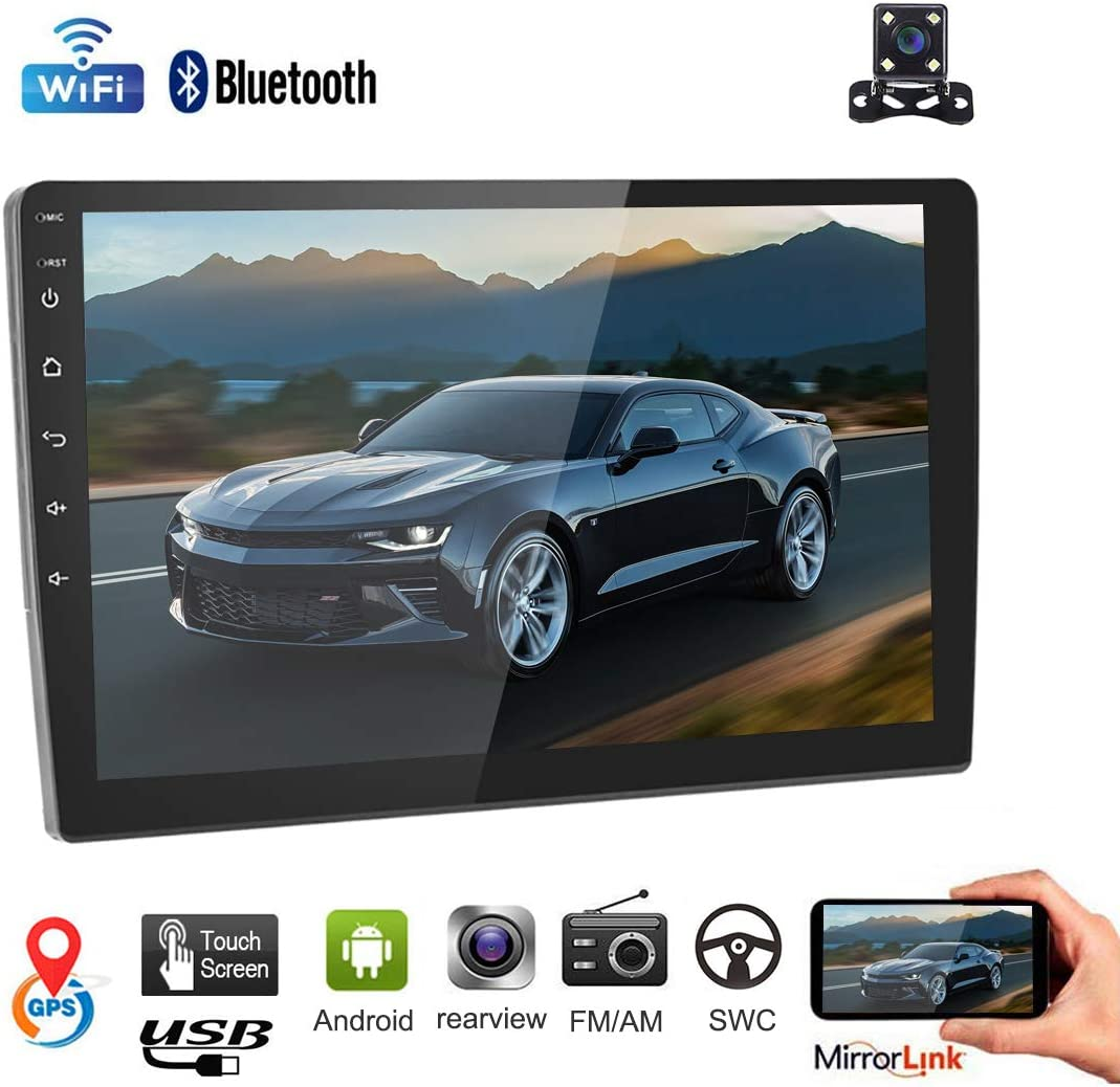 Car Stereo Double Din Car Radio Android 8.1 Audio 9 2.5D HD Touch Screen in Dash Car MP5 Player with Bluetooth GPS Navigation WiFi FM AM Radio Support Mirror Link SWC Dual USB Rear View Camera
