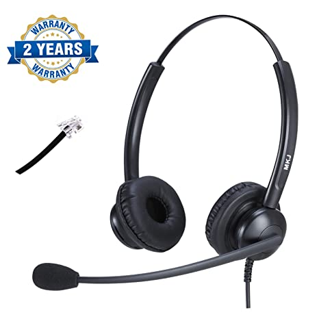 Corded Office Phone Headset with Microphone Noise Cancelling Landline  Telephone Headset Compatible with Plantronics Altigen Polycom Gigaset Avaya